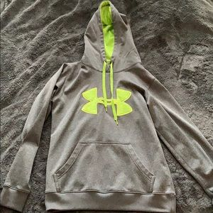 Under armour neon yellow and grey hoodie